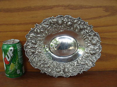 Antique Gorham Sterling Silver 925 Ornate Hand Chased Flower Serving Tray Bowl
