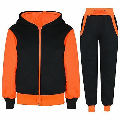 Kids Girls Tracksuit Neon Orange Fleece Hooded Jogging Suit Bottom Jogger 2-13Yr