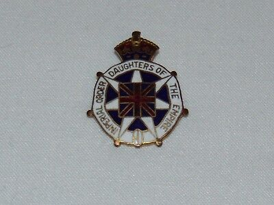 Vintage Antique Imperial Order Daughters Of The Empire Brass & Enamel Badge Pin