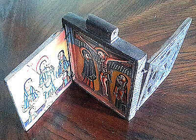 antique Ethiopian Coptic Christian Old Wood Icon Triptych Hand-painted