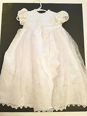Infant 6-9 Months Christening Baptism Dress Gown White Lace Beads