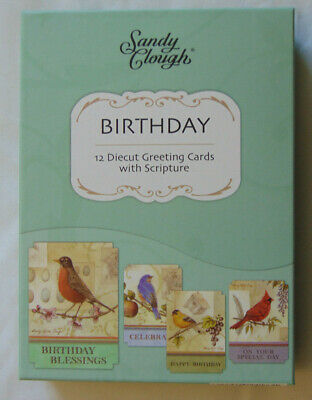 BOX 12 Christian Birthday Song Birds Greeting Cards With Bible Scripture Verse