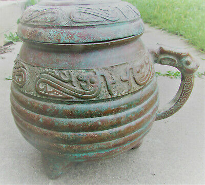 Scarce Ancient Chinese Tang Dynasty Bronze Vessel With Dragon Head Decorations
