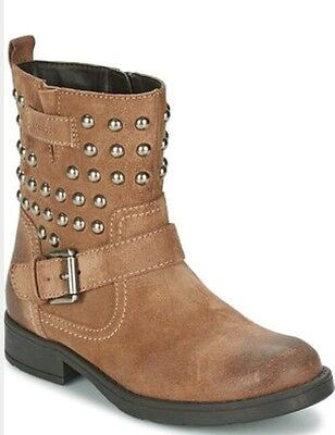 724c87998044e GEOX RESPIRA Girls Jr Sofia C Suede Leather Studded Zip Brown kids Boots  Shoe