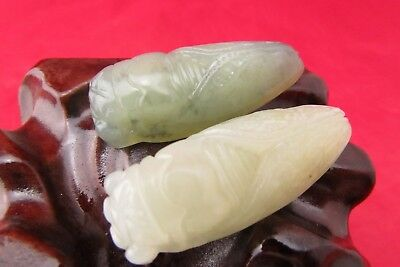 Chinese jade hand-carved Chinese jade pendant one pair of cicada amulet  C574