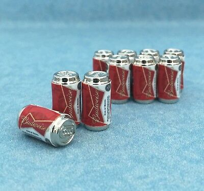 Set 10pcs Dollhouse Miniatures Beer Budweiser Can Drinks Beverages supply
