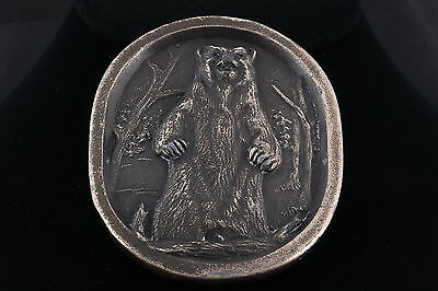 Indiana Metal Craft © 1977 Brass Grizzly Bear Belt Buckle 4710