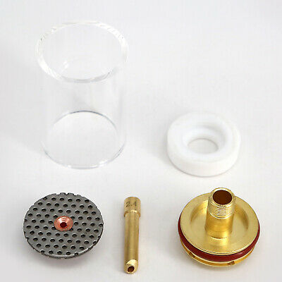 5x Welding Saver 3/32'' Series Tig Kit Gas Fluted Lens Pyrex For WP17/18/26 Cup