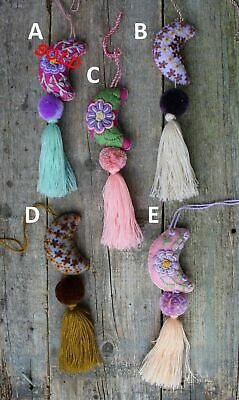 Moon Tassel Pom Pom Hand Embroidered - SOLD SEPERATELY - Mayan Mexican Folk Art