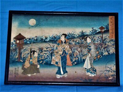 Antique 1840-50 Japanese Woodblock Print Inks on Mulberry Bark Paper.