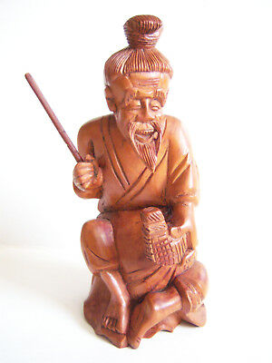 Chinese Exquisite Hand-carved Old man carving carving Boxwood statue
