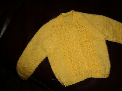 Pretty Handknit 3-6 Months ButterCup Yellow Cable Front Cardigan Baby 4Ply New