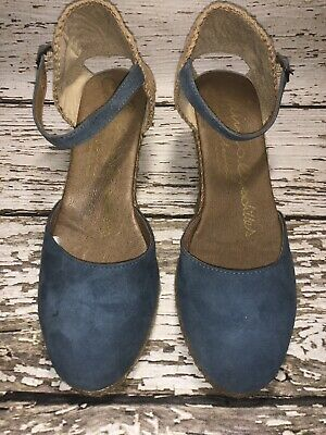 924231793e14 Womens Gaimo Espadrilles Leather Wedge Sandals Blue and Brown Women s Size  38