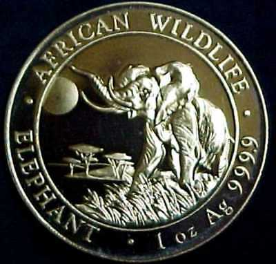 2016 Somali AFRICAN WILDLIFE ELEPHANT 100 SHILLINGS Proof 1 Oz. .999 Silver Coin