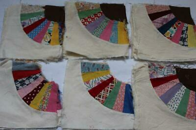FABRIC LOT Vtg Hand-Stitched DRESDEN PLATE/RING SQUARES Unfinished 55/478 Pc (4)