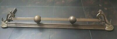 Brass Fire Fender with decorative scrolls, rail and ball finials