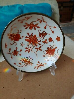 ANTIQUE JAPANESE T.F.F. PORCELAIN BOWLRed Dragonfly MADE IN HONG KONG