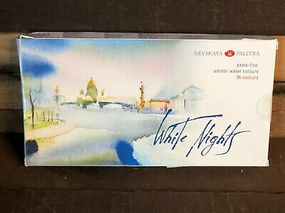 Nevskaya Palitra 36 Watercolor Paint Set White Lights St. Petersburg Russian NEW