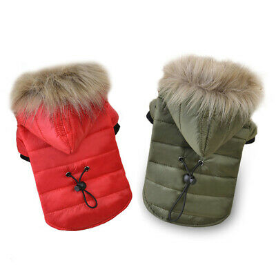 Fur Collar Dog Coat Winter Small Pet Cat Jacket Poodle Chihuahua Clothes Apparel