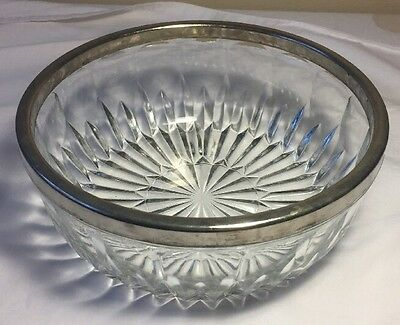 Vintage Crystal Pressed Glass Bowl with Silver Plated Ring