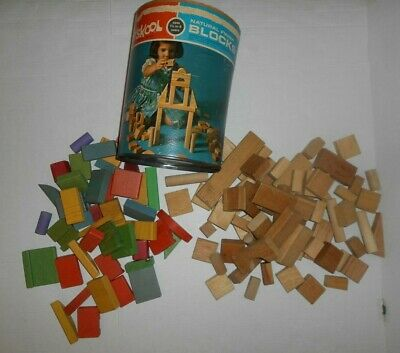Lot Of 109 Vtg Playskool Wood Blocks 43 Multicolored And 66 Natural W Container