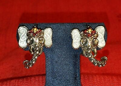 Barbara Bixby 18K 925 Red Garnet Maharaja's Ride Elephant Earrings Sterling Gold