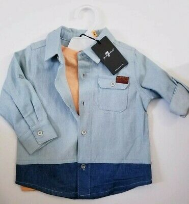 Seven 7 For All Mankind Baby Boys Shirt Jeans 2 Pc Set 12 Mos.