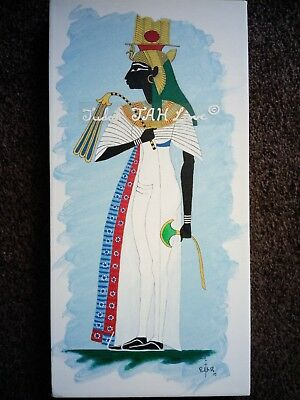 Ancient Egyptian painting of black Queen, Nefertari, signed original on canvas.