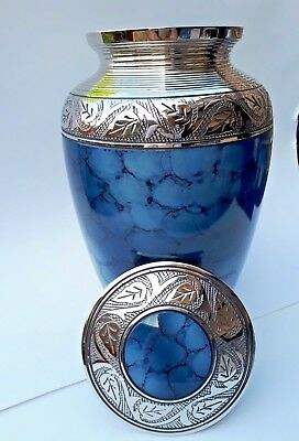 TOP QUALITY BRASS!! Adult Cremation Urn for Ashes - Stunning Blue Cloud Design