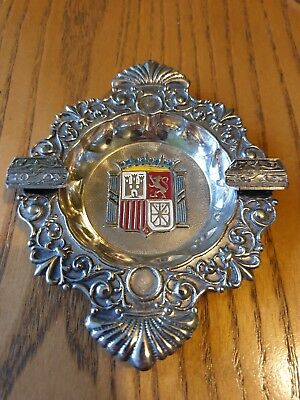 Antique Silver Edinburgh Enamelled Crest Ashtray