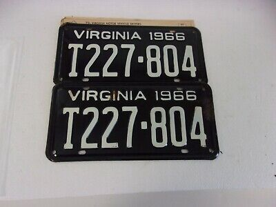 1966 Virginia Truck License Plate Pair-New And Unissued!