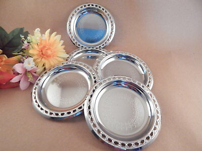 Coasters Silver Plated Trays Set of 5 Barware Vintage 1980s Beverage Serving