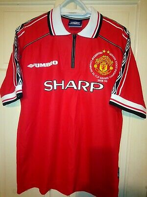 RARE, ORIGINAL 1998-00 Man United Home Shirt With Sewn On Triple CL/PL/FA CUP...