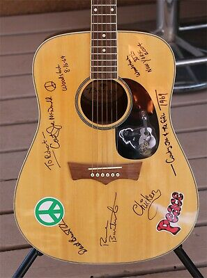 Country Joe & The Fish Autographed Guitar Celebrate Woodstock's 50th Anniversary