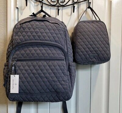 602ea44f8 Vera Bradley NWT Essential Large Backpack & Lunch Bunch Carbon Gray Exact  Items