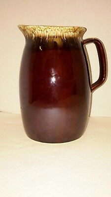 """Vintage Hull Oven Proof Pottery Brown Drip Glaze Water Jug Pitcher  6 1/2"""" USA"""