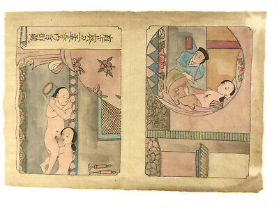 Antique Chinese Erotica Hand Painted Nudes Sex Anonymous c Early 1900s