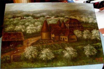 Fabulous English Painting by Henry Hill Dated 1935 in Kent from the Steeple