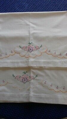Lovely pair of vintage cotton embroidered pillowcases