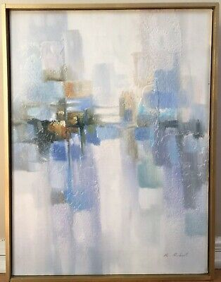 Vintage Mid Century Abstract Oil Painting Signed Framed