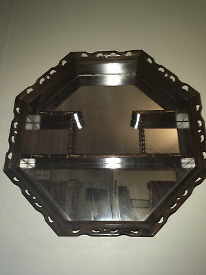 "VINTAGE 37"" WOOD & GLASS MIRROR ""OCTAGON"" SHADOW BOX w/SPIRAL PILLARS & SHELVES"