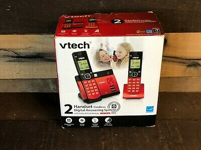 VTECH CS5129-26 Two Handset Cordless Phones w/ Digital Answering System Red NEW