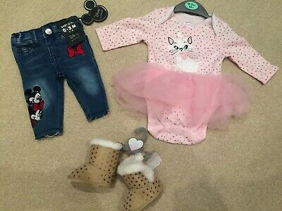 Brand New With Tags Primark Booties & Disney Baby Jeans & Tutu Vest Age 0-3