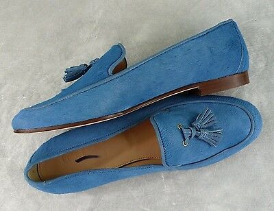 faf5c63c6cc NEW J. CREW Retail  368 CALF HAIR LEATHER TASSEL LOAFERS OCEAN BLUE SIZE 7  ITALY