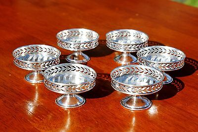 """SET OF 6 Sterling Silver AJOURE Small Footed Dishes 1 1/4"""" Pedestal Mint / Candy"""