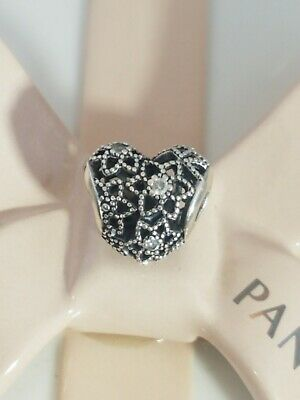 6b063074f Authentic Pandora Sterling Silver BLOOMING HEART Clear CZ Charm 796264CZ