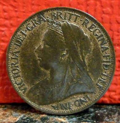 Beautiful High Grade Turn of the Century 1899 Queen Victoria Farthing KM# 788.2