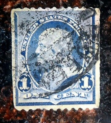 Very Nice Franklin 1 Cent Dull Blue 1890 1893 Stamp Used Scott# 219 J74