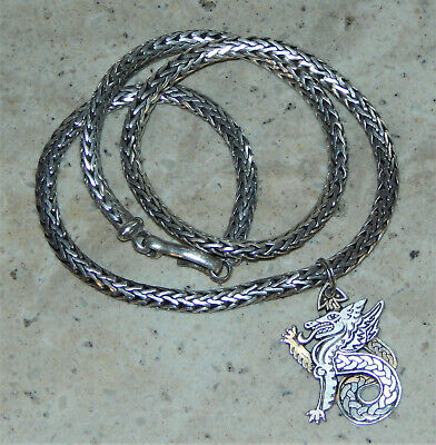 """Vtg Sterling Silver Chinese Dragon Pendant Foxtail Link 925 Chain 18"""" Necklace"""
