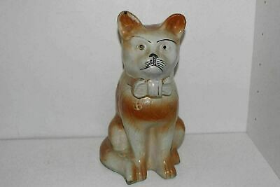 "Large Antique 12.25"" Hand Painted Staffordshire Art Pottery Cat Figurine"